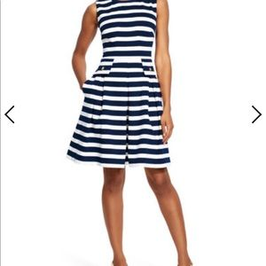 Adrianna Papell Size 14 Navy Striped Fit and Flare